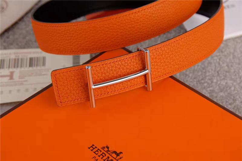 HERMES 2017经典款 进口牛皮 原版 不锈钢扣头 银扣橙色带身_米兰站世界名牌皮具直销网