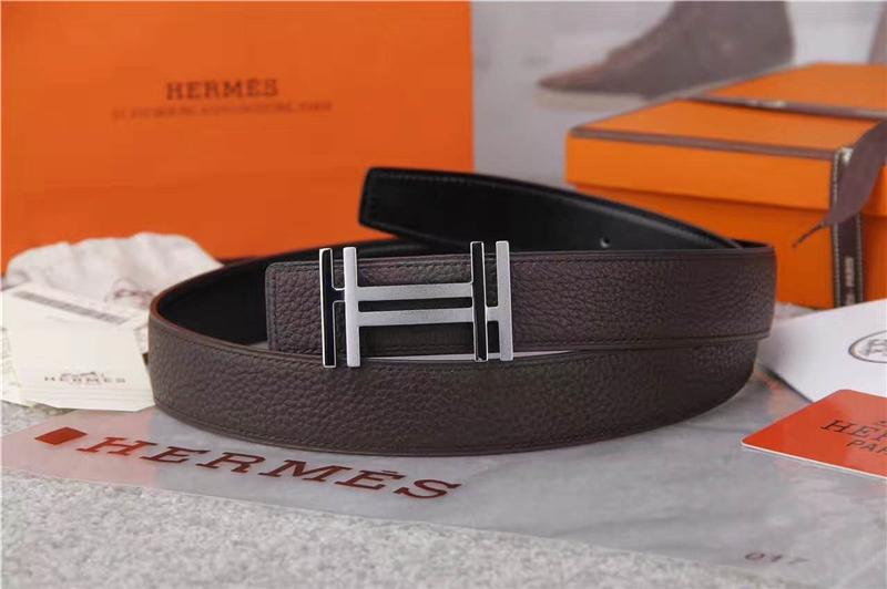 Hermes 爱马仕 爱马仕腰带 荔枝纹双用腰带 进口机车车线 棕色