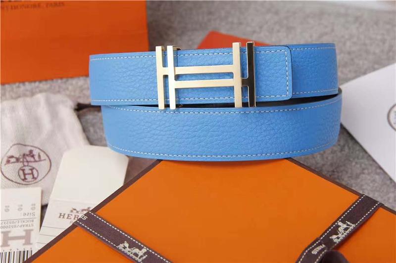 Hermes 爱马仕 爱马仕腰带 荔枝纹双用腰带 进口机车车线 蓝色