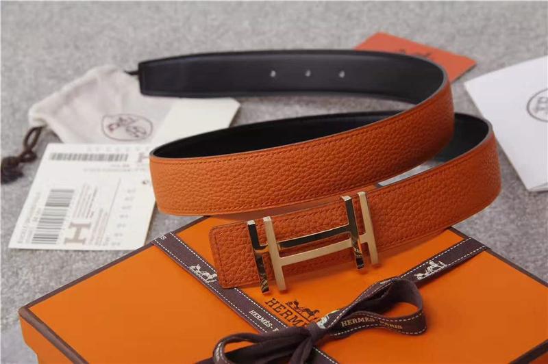 Hermes 爱马仕 爱马仕腰带 荔枝纹双用腰带 进口机车车线 橙色