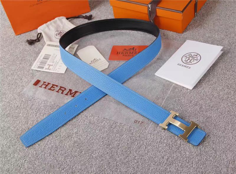 爱马仕腰带 Hermès 爱马仕原单腰带 经典H拉丝扣头 海外进口荔枝纹带条 蓝色