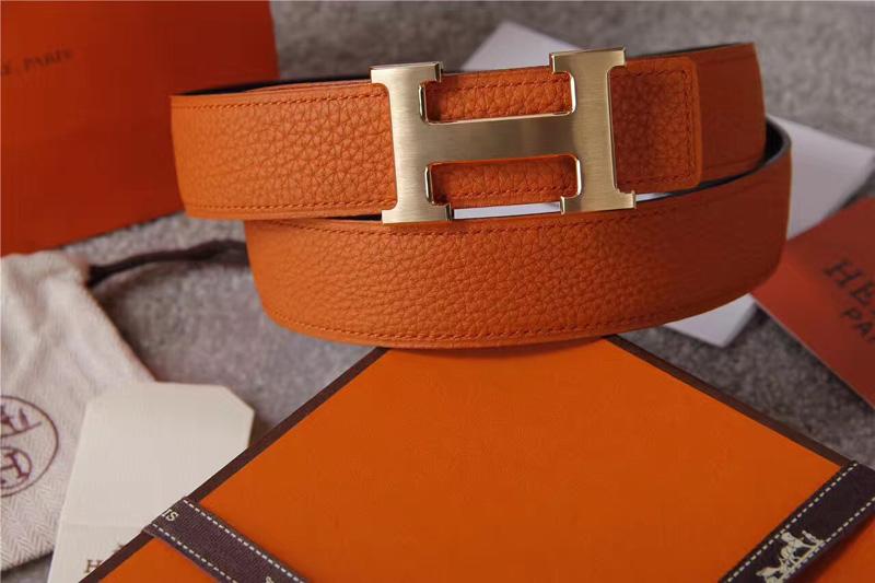 爱马仕腰带 Hermès 爱马仕原单腰带 经典H拉丝扣头 海外进口荔枝纹带条 橙色