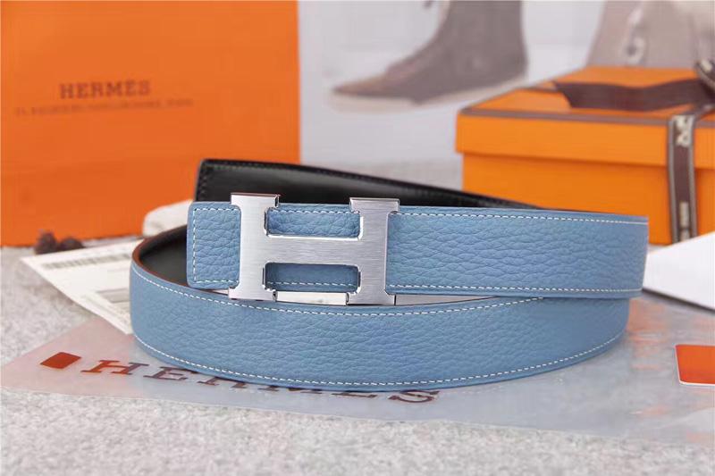 爱马仕腰带 Hermès 爱马仕原单腰带 经典H拉丝扣头 海外进口荔枝纹带条 浅蓝色