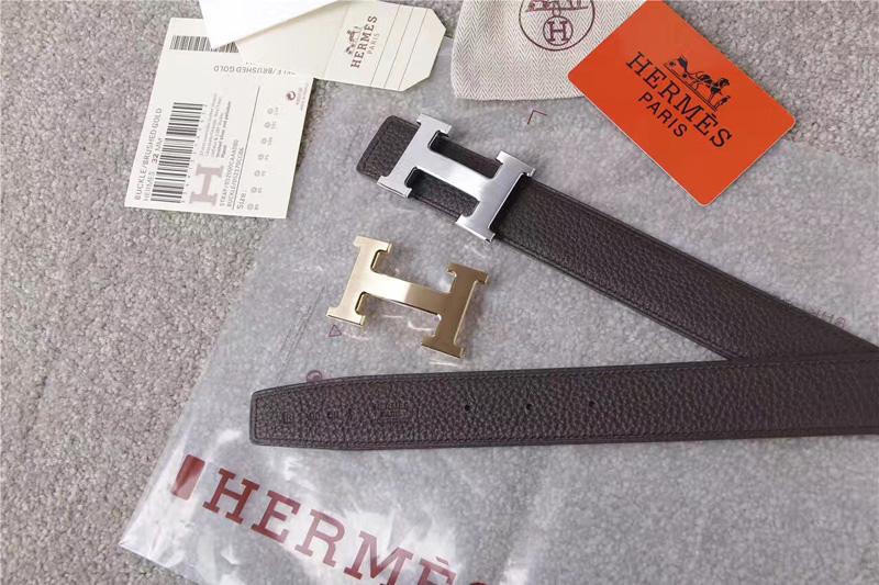 爱马仕腰带 Hermès 爱马仕原单腰带 经典H拉丝扣头 海外进口荔枝纹带条 灰色