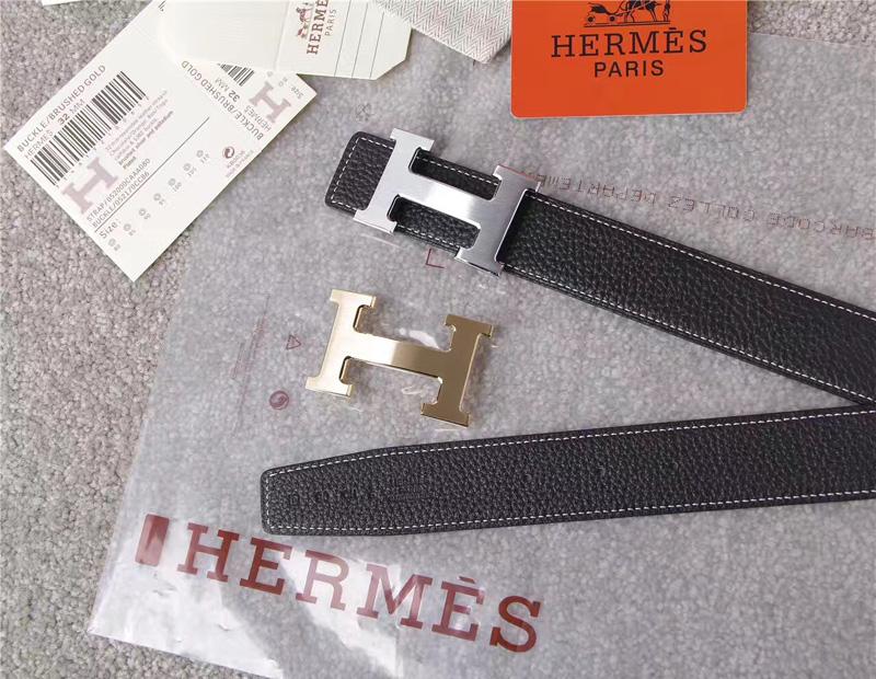爱马仕腰带 Hermès 爱马仕原单腰带 经典H拉丝扣头 海外进口荔枝纹带条 黑色