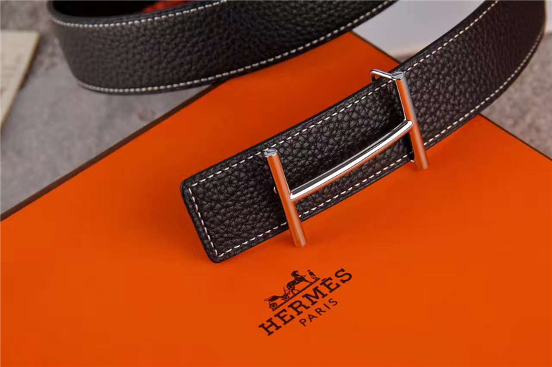HERMES 2017经典款 进口牛皮 原版 不锈钢扣头 银扣黑色带身