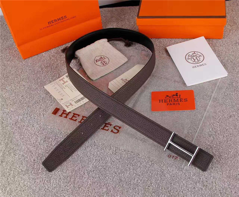 HERMES 2017经典款 进口牛皮 原版 不锈钢扣头 银扣灰色带身