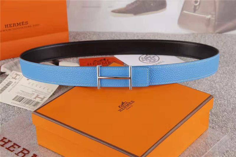 HERMES 2017经典款 进口牛皮 原版 不锈钢扣头 银扣蓝色色带身