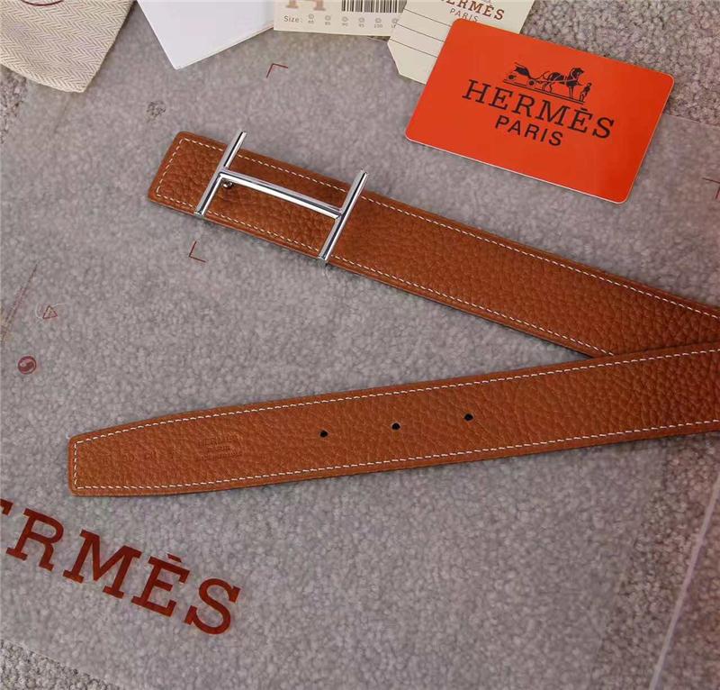 HERMES 2017经典款 进口牛皮 原版 不锈钢扣头 银扣咖啡色带身